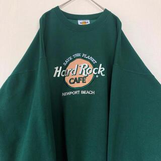 ハードロックカフェ 刺繍 スウェット トレーナー  USA製 グリーン 緑(スウェット)