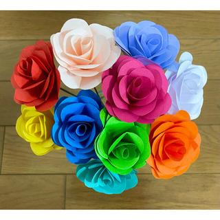 折り紙で作ったバラ ビビットカラー カラフル 10本セット(その他)