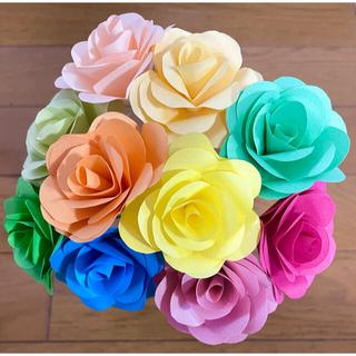 折り紙で作ったバラ 癒しカラフル 10本セット(その他)