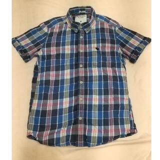アバクロンビーアンドフィッチ(Abercrombie&Fitch)のアバクロ♡半袖♡シャツ/チェック/ブルー/ネルシャツ(シャツ)