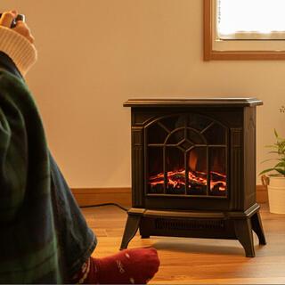 暖炉型ファンヒーター レトロ 電気ストーブ(電気ヒーター)