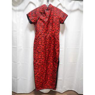 チャイナドレス 赤 半袖  ロングドレス ハロウィン 本格的
