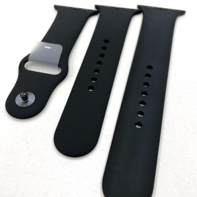 Apple Watch(アップルウォッチ)のアップルウォッチ スポーツバンド 黒 Apple Watch 42/44mm 用 メンズの時計(ラバーベルト)の商品写真