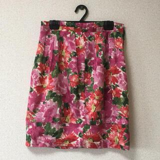 ドゥーズィエムクラス(DEUXIEME CLASSE)のドゥーズィエムクラス 日本製 花柄 ひざ丈タイトスカート(ひざ丈スカート)
