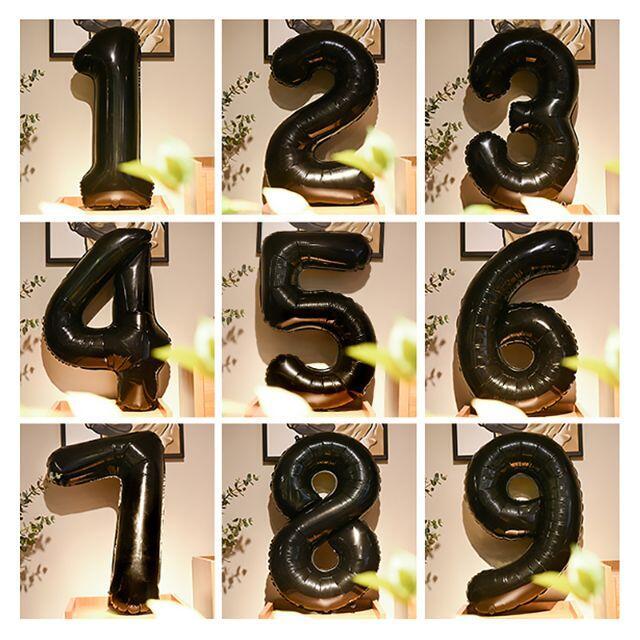 0〜9まで数字が選べる!バルーン 風船 数字 ブラック 1セット インテリア/住まい/日用品のインテリア小物(ウェルカムボード)の商品写真