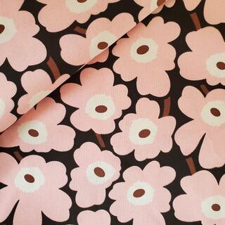 マリメッコ(marimekko)のキャンバス生地 帆布 北欧風フラワー マリメッコ柄風 ピンク 142×50㎝(生地/糸)