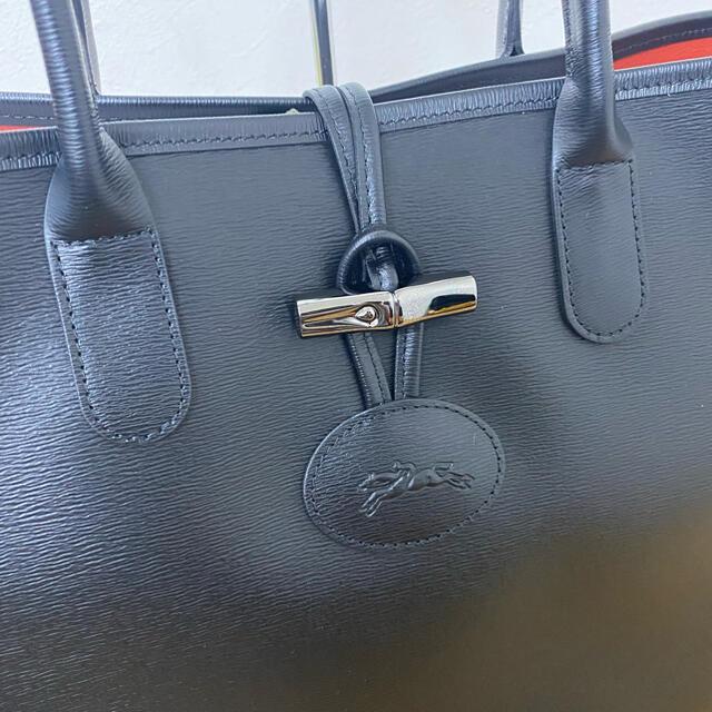 LONGCHAMP(ロンシャン)の美品 ロンシャン ロゾ トートバッグ レザー 黒 ブラック ☆ロエベ グッチ レディースのバッグ(トートバッグ)の商品写真