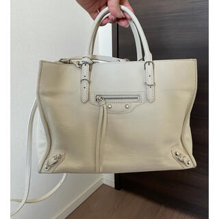 バレンシアガバッグ(BALENCIAGA BAG)の美品☆BALENCIAGA ペーパーバッグ ホワイト(ハンドバッグ)