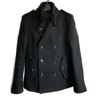 ロエン(Roen)の定価10.8万★Roen スワロフスキースカル装飾ライダースジャケットPコート(ピーコート)