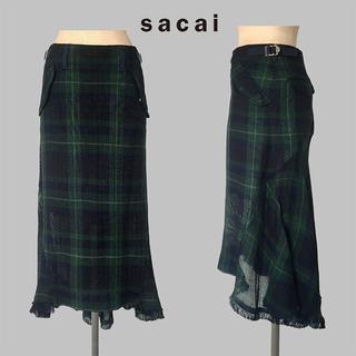 サカイ(sacai)の16ss sacai(サカイ) メッシュ チェック ロングスカート(ロングスカート)