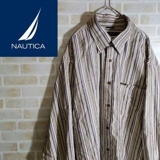 NAUTICA - ノーティカ 長袖 シャツ ストライプ 胸ポケット オーバーサイズ BDシャツ