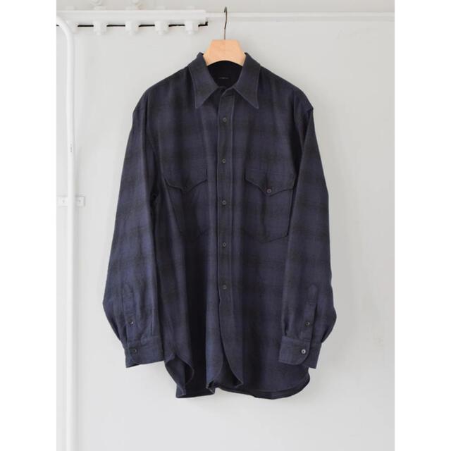 COMOLI(コモリ)のCOMOLI 21AW ウールシルクワークシャツ サイズ3 ネイビー 新品未使用 メンズのトップス(シャツ)の商品写真