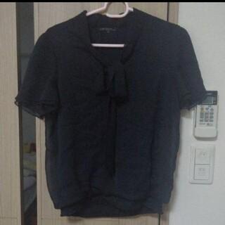 ニジュウサンク(23区)の23区 カットソー/ブラウス 38 M 黒 ブラック(シャツ/ブラウス(半袖/袖なし))