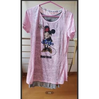 ディズニー(Disney)の2点セット カットソー タンクトップ ミニーマウス ピンク グレー L (チュニック)