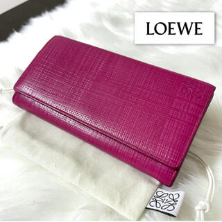 LOEWE - 【美品】LOEWE ロエベ  長財布 リネン ピンク レザー
