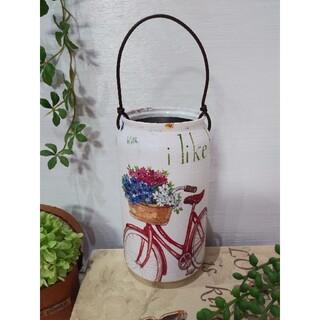 リメイク缶アルミバスケット(スタンド型) 花と自転車(プランター)