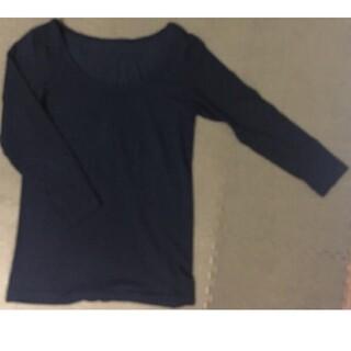 ムジルシリョウヒン(MUJI (無印良品))の無印良品 綿であったか Uネック八分袖 シャツ 黒色(アンダーシャツ/防寒インナー)