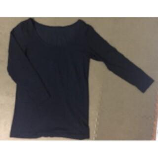 ムジルシリョウヒン(MUJI (無印良品))の無印良品 綿であったか Uネック 八分袖 シャツ 黒(アンダーシャツ/防寒インナー)
