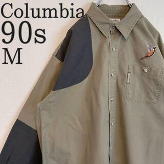 Columbia - コロンビアハンティングシャツ 90s ベージュチャコール 刺繍M アメリカ古着