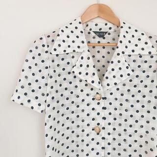 ロキエ(Lochie)の【古着】レトロポップ ドット柄半袖シャツ vintage 昭和レトロ(シャツ/ブラウス(半袖/袖なし))