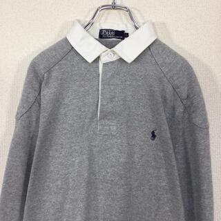 ラルフローレン(Ralph Lauren)の【90s】ポロバイラルフローレン ラガーシャツ ポニー刺繍 エルボーパッチ 灰色(ポロシャツ)