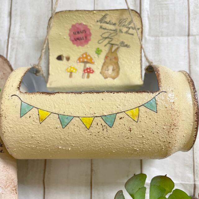 リメ缶、リメイク缶イエロー、ベージュ2個セット ハンドメイドのフラワー/ガーデン(プランター)の商品写真