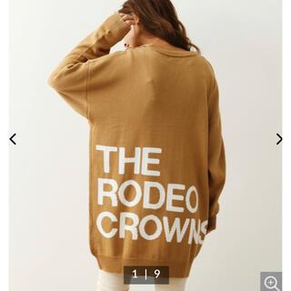 ロデオクラウンズワイドボウル(RODEO CROWNS WIDE BOWL)のロデオクラウンズ ロゴインターシャニットワンピース(ひざ丈ワンピース)