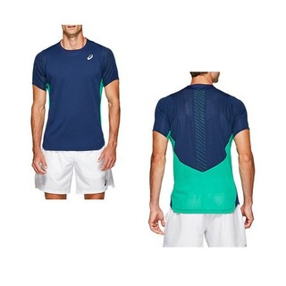 asics - M アシックス テニスウェア Tシャツ ゲームシャツ ASICS メンズ ブルー