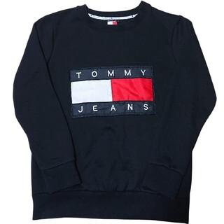 トミー(TOMMY)のTOMMY JEANSビッグロゴ刺繍スウェットトレーナーLトミージーンズ古着(トレーナー/スウェット)