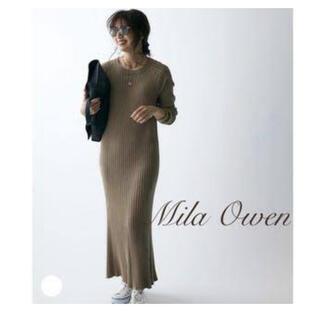 Mila Owen -  Mila Owen ラグランスリーブハイネックリブニットワンピース