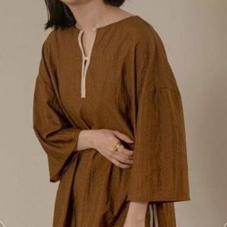 カスタネ(Kastane)のlawgysmooth sheer v blouse (カットソー(半袖/袖なし))