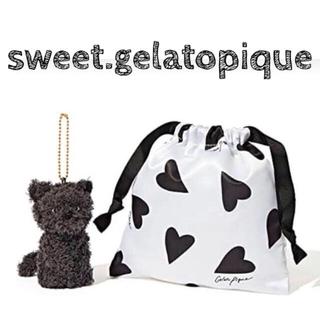 gelato pique - Sweet10月号♡ジェラートピケ ネコチャーム&ハート柄巾着ポーチ
