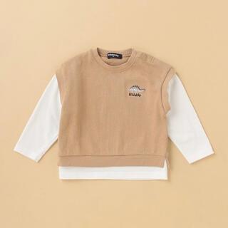 kladskap - ☆120☆ クレードスコープ ☆ 恐竜ベストレイヤード風長袖Tシャツ