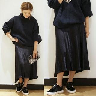 ドゥーズィエムクラス(DEUXIEME CLASSE)の《完売》ドゥーズィエムクラス グロッシースカート ネイビー 36(ロングスカート)
