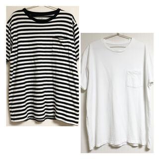 フルーツオブザルーム メンズ 白黒 ボーダー Tシャツ 半袖 FRUIT(Tシャツ/カットソー(半袖/袖なし))