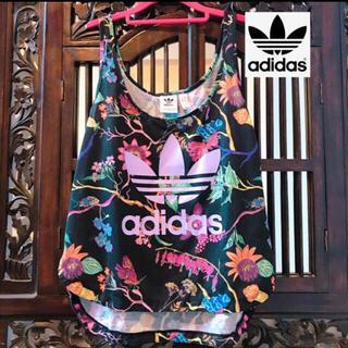 adidas - アディダス 希少 黒 花柄 ビッグロゴ タンクトップ Tシャツ 紫 ジャージ