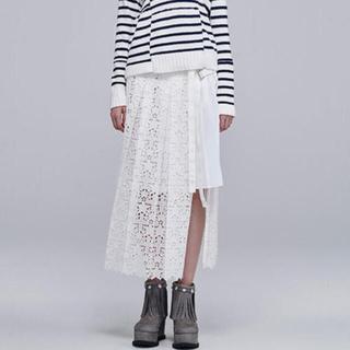 サカイ(sacai)のsacaiコレクションラインプリーツレースドッキングスカート(ロングスカート)