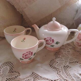 アフタヌーンティー(AfternoonTea)の新品♡マニー♡ローズ陶器ポットとマグカップセットイマンダイアナローズノリタケ薔薇(食器)