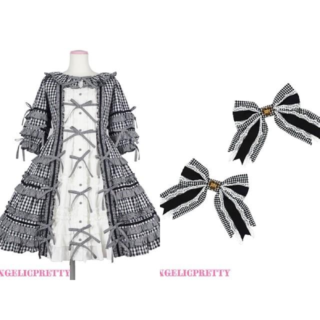 Angelic Pretty(アンジェリックプリティー)のLittle House 黒 ワンピース クリップセット レディースのワンピース(ひざ丈ワンピース)の商品写真