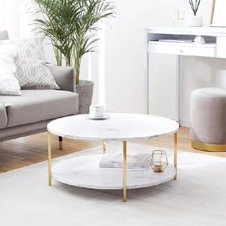 [幅69]センターテーブル ローテーブル2段テーブル 円形 ゴールド脚 大理石柄