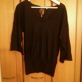 ムジルシリョウヒン(MUJI (無印良品))の袖ワイド黒ニット(ニット/セーター)