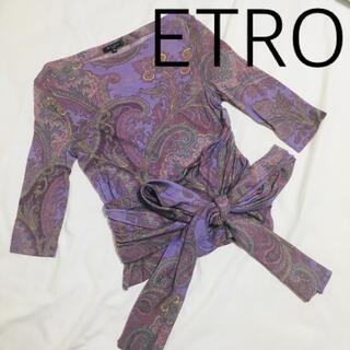 ETRO - エトロ ETRO ベルトリボン付き ペイズリー柄 エスニック柄 七分 トップス