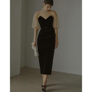 アメリヴィンテージ(Ameri VINTAGE)のameri vintage TULLE SLEEVE TIGHT DRESS M(ロングドレス)