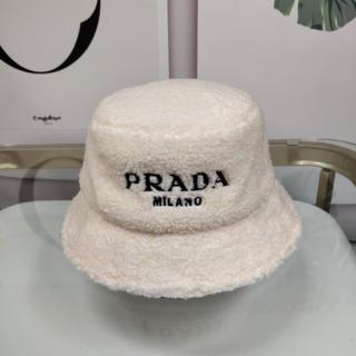 PRADA - PRADA  バケット ハット モコモコ 白