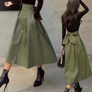 dholic - 新作セール【韓国ファッション】ハイウエスト バックリボン フレアスカート