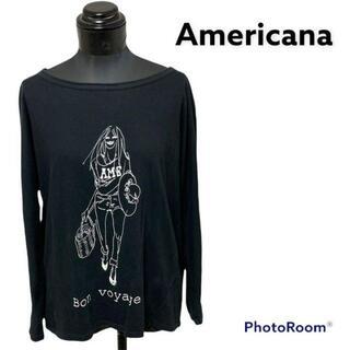 アメリカーナ(AMERICANA)のAmericana アメリカーナ カットソー 長袖 ロゴ ブラック(Tシャツ(長袖/七分))