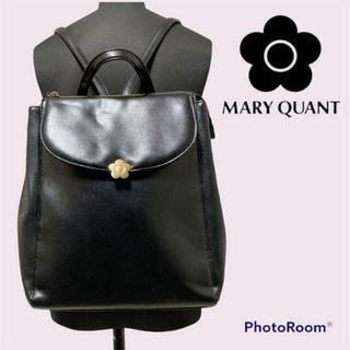 マリークワント(MARY QUANT)のマリークワント マリクワ リュック バッグ ブラック 花 ゴールド(ショルダーバッグ)