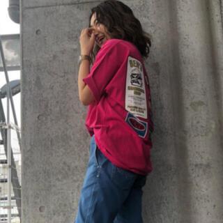 ロデオクラウンズワイドボウル(RODEO CROWNS WIDE BOWL)のロデオクラウンズ BURGER Tシャツ ピンク(Tシャツ(半袖/袖なし))