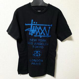 STUSSY - STUSSY ステューシー 黒Tシャツ ワールドツアー ブルーラメ