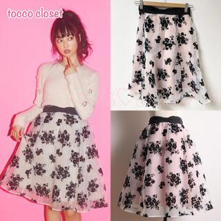 トッコ(tocco)のtocco closet♡シースルーフロッキーフラワースカート(ひざ丈スカート)